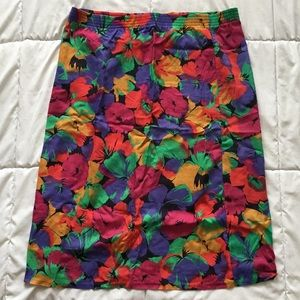 Vintage 90's Tropical Midi Skirt
